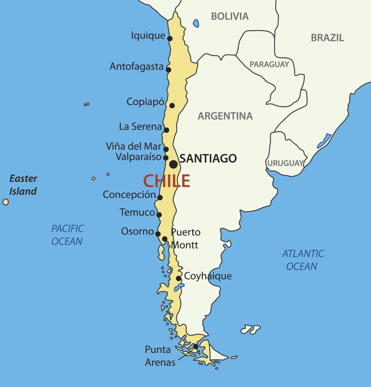 Chili, pays la carte - carte de Chili pays (Amérique du Sud - Amérique)