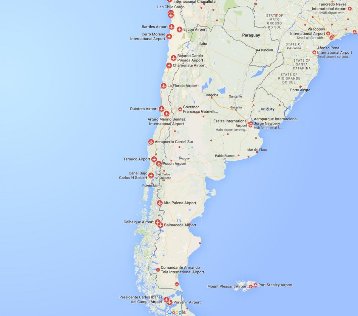 Carte Amerique Du Sud Aeroport.Chili Aeroports Carte Carte Des Aeroports De Chili